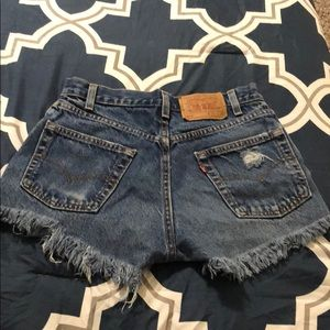 Levi's Shorts - Custom made Levi high waisted distressed shorts✨
